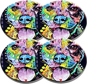 Beverage Coaster - Custom Fashion Personalized Exquisite Ceramic Coasters with Cork Liner,4 Pieces Sets (Cherish The Pitbull)