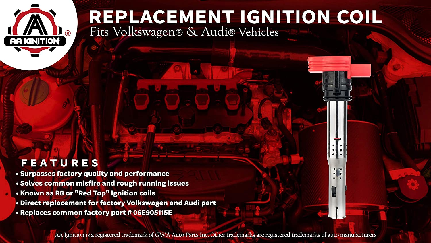 Ignition Coil Pack Fits Volkswagen /& Audi Vehicles Replaces# 06E905115E