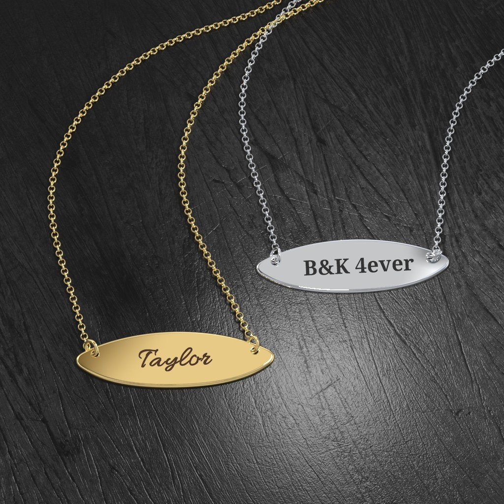 14K Gold Personalized Ellipse Name Necklace by JEWLR
