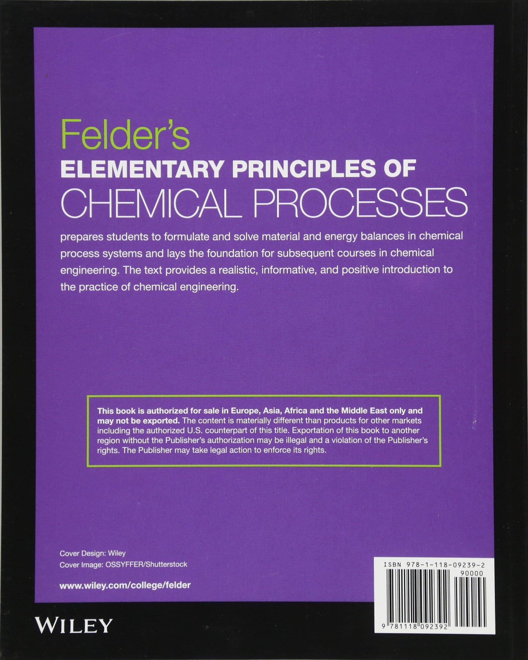 Buy Felder′s Elementary Principles of Chemical Processes