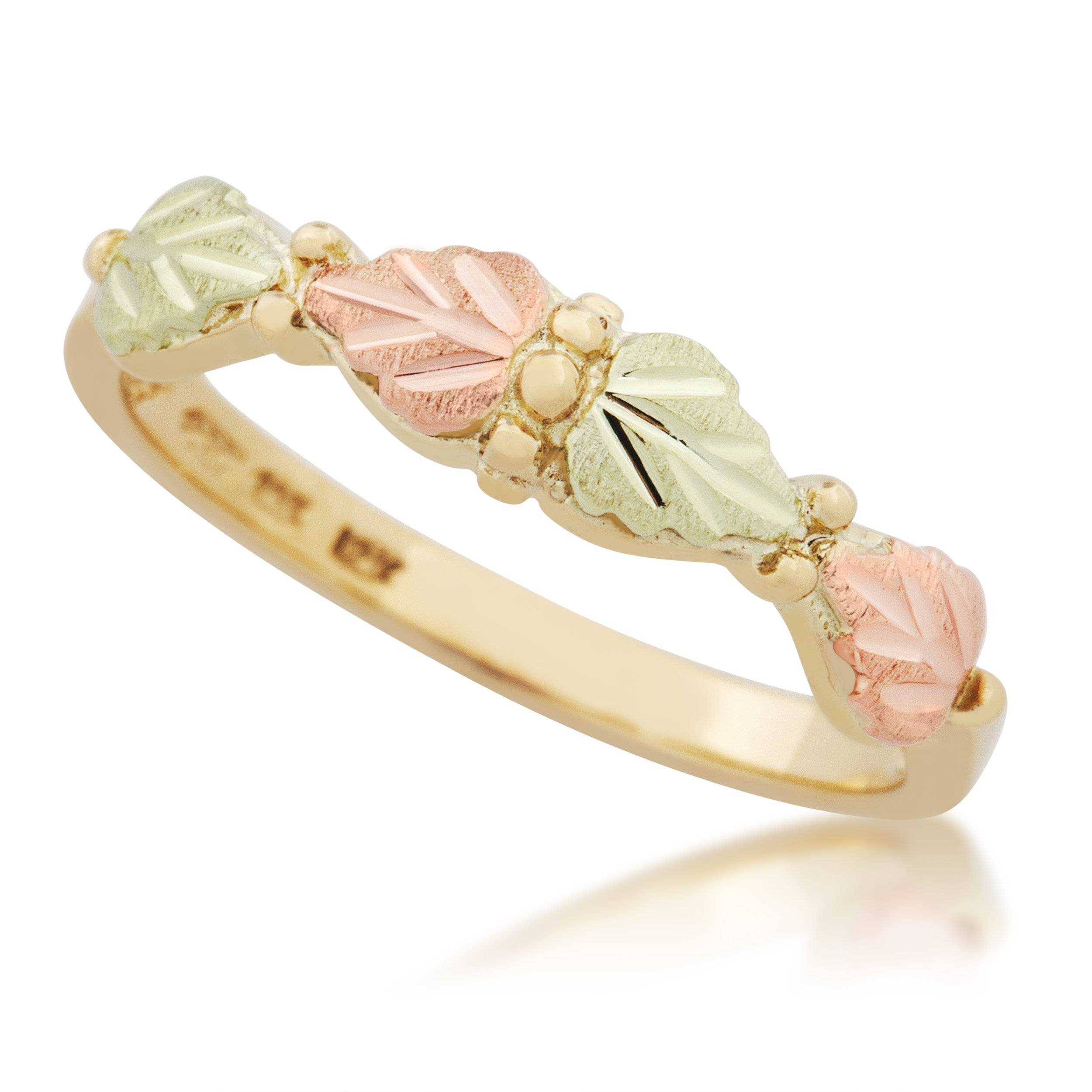 Petite Black Hills Gold Band, 10k Yellow Gold, 12k Pink and Green Gold, Size 5