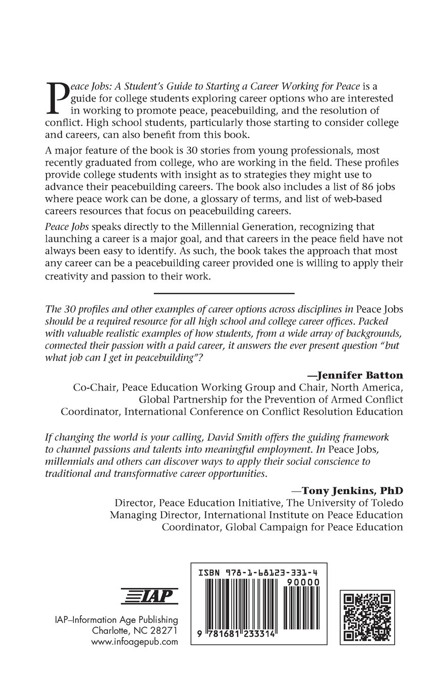 buy peace jobs a students guide to starting a career working for peace peace education book online at low prices in india peace jobs a students