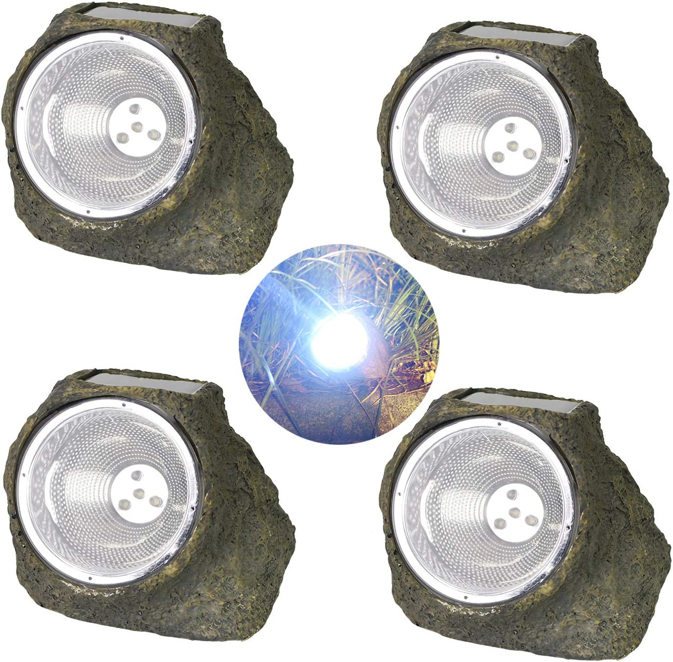 DSDecor 4 Pack Solar Powered Rock Lights Outdoor Waterproof Resin Stone Solar LED Lights for Landscape Garden Yard Lawn Walkway Pathway Decorations