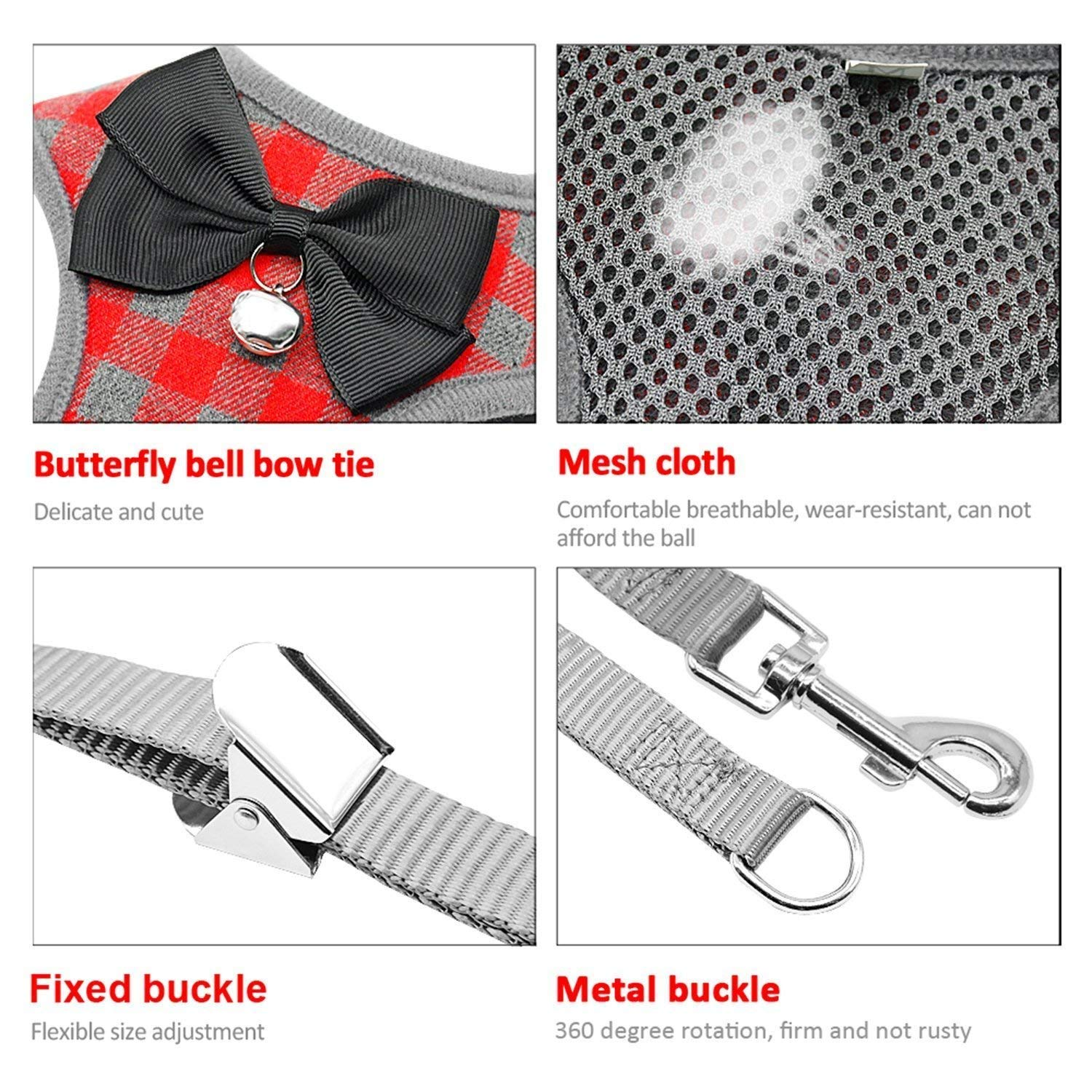 RYPET Small Dog Harness and Leash Set - No Pull Pet Harness with Soft Mesh Nylon Vest for Small Dogs and Cats Red M by RYPET (Image #4)