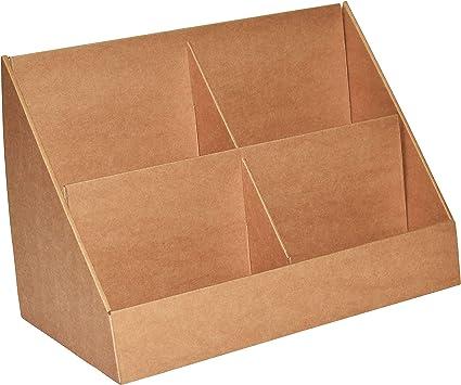Stand-Store - Soporte de cartón con 4 compartimentos, para tarjetas de felicitación, CD, DVD, color marrón 175mm pockets - A5: Amazon.es: Oficina y papelería