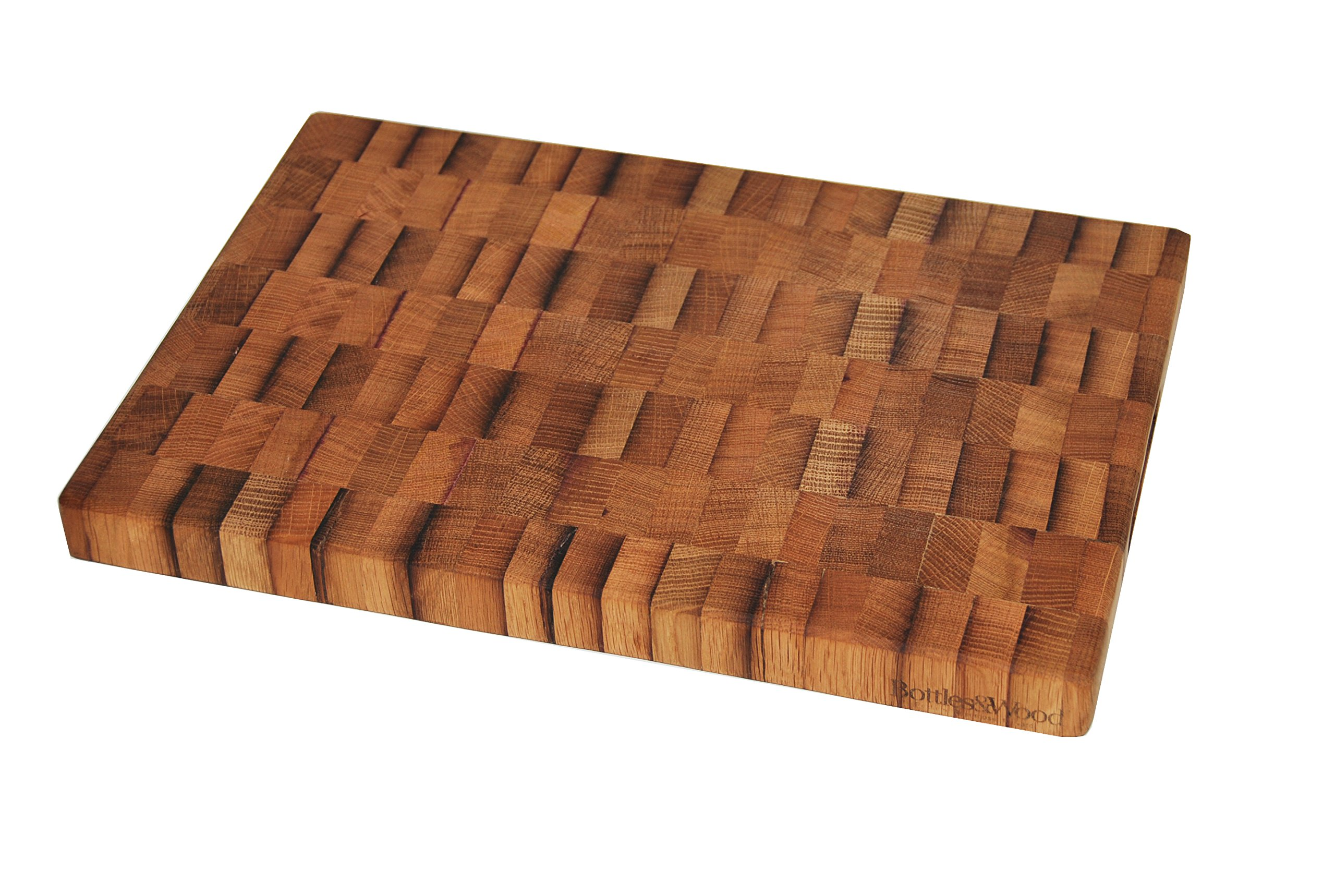 Bottles & Wood BT-BB-18 Barrel Top Butcher Block, Large, Natural Wood With Cabernet Red Wine Accents