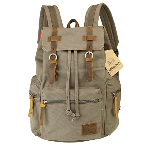 a8b0011e7a21 Wowbox 15.6 Inch Laptop Canvas Backpack Unisex Vintage Leather Casual  Rucksack School College Bags Satchel Bookbag