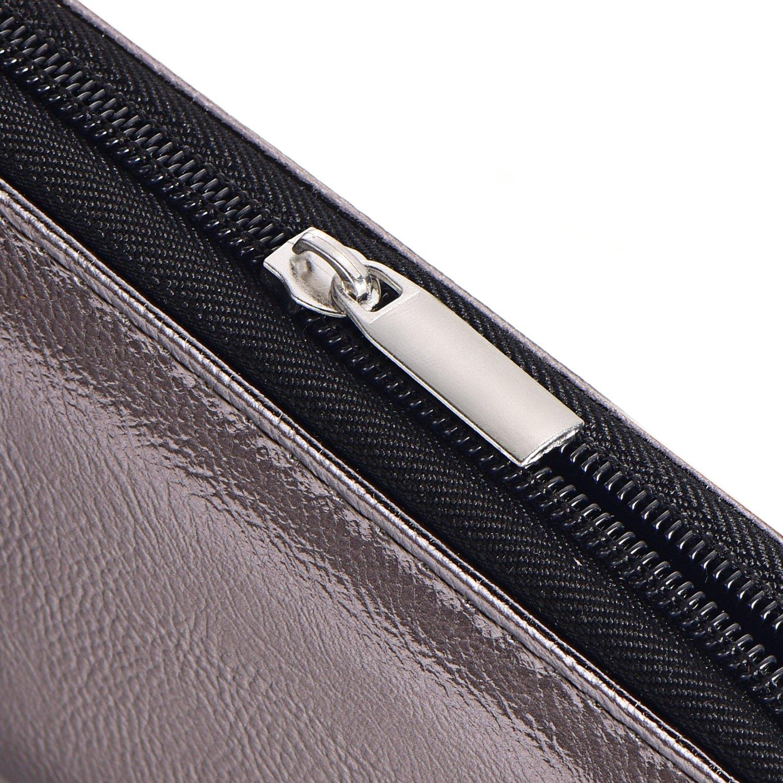 Porte-monnaie pour femme doux m/étallis/é avec fermeture /éclair Portefeuille Argent 20 x 10 x 2,5 cm