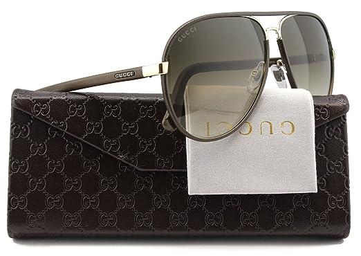 034deeb5801 Amazon.com  GUCCI GG2887 S Aviator Sunglasses Dark Chocolate Leather (0UZF)  2887 S UZF CC 61mm Authentic  Clothing