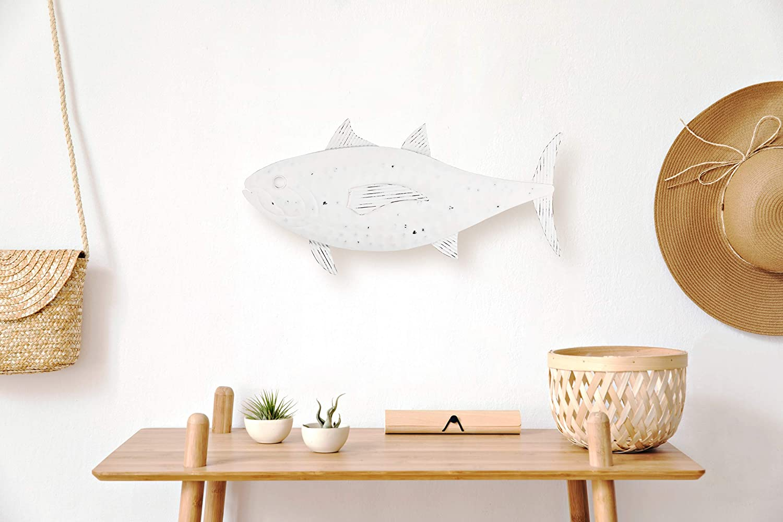 Metal Fish Wall Art - Handmade Fish Wall Decor for Coastal, Nautical, & Beach Decor - Modern Distressed White Finish is perfect for Coastal Wall Decor & Coastal Bathroom Decor -19.6