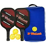 JP WinLook Pickleball Paddle Set - 2 Premium USAPA Approved Graphite Rackets Honeycomb Composite Core, 3 Balls, Ultra Cushion Grip, Portable Racquet Cover Case Bag Accessories Gift Kit, Indoor Outdoor