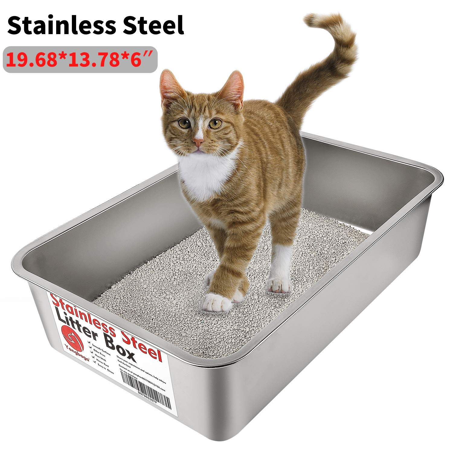 Yangbaga Stainless Steel Litter Box for Cat and Rabbit, Odor Control Litter Pan, Non Stick Smooth Surface, Easy to Clean, Never Bend, Rust Proof, Large Size with High Sides and Non Slip Rubber Feets by Yangbaga