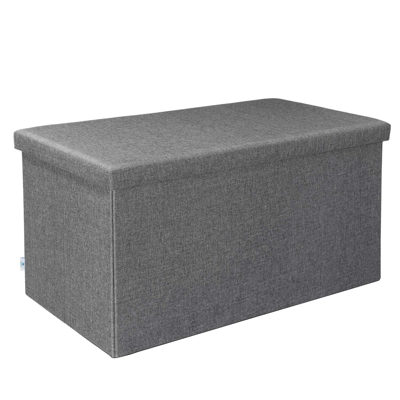 B FSOBEIIALEO Storage Ottoman with Tray Dark Grey 16X15.7x15 Linen Small Coffee Table Folding Foot Rest Seat Cube