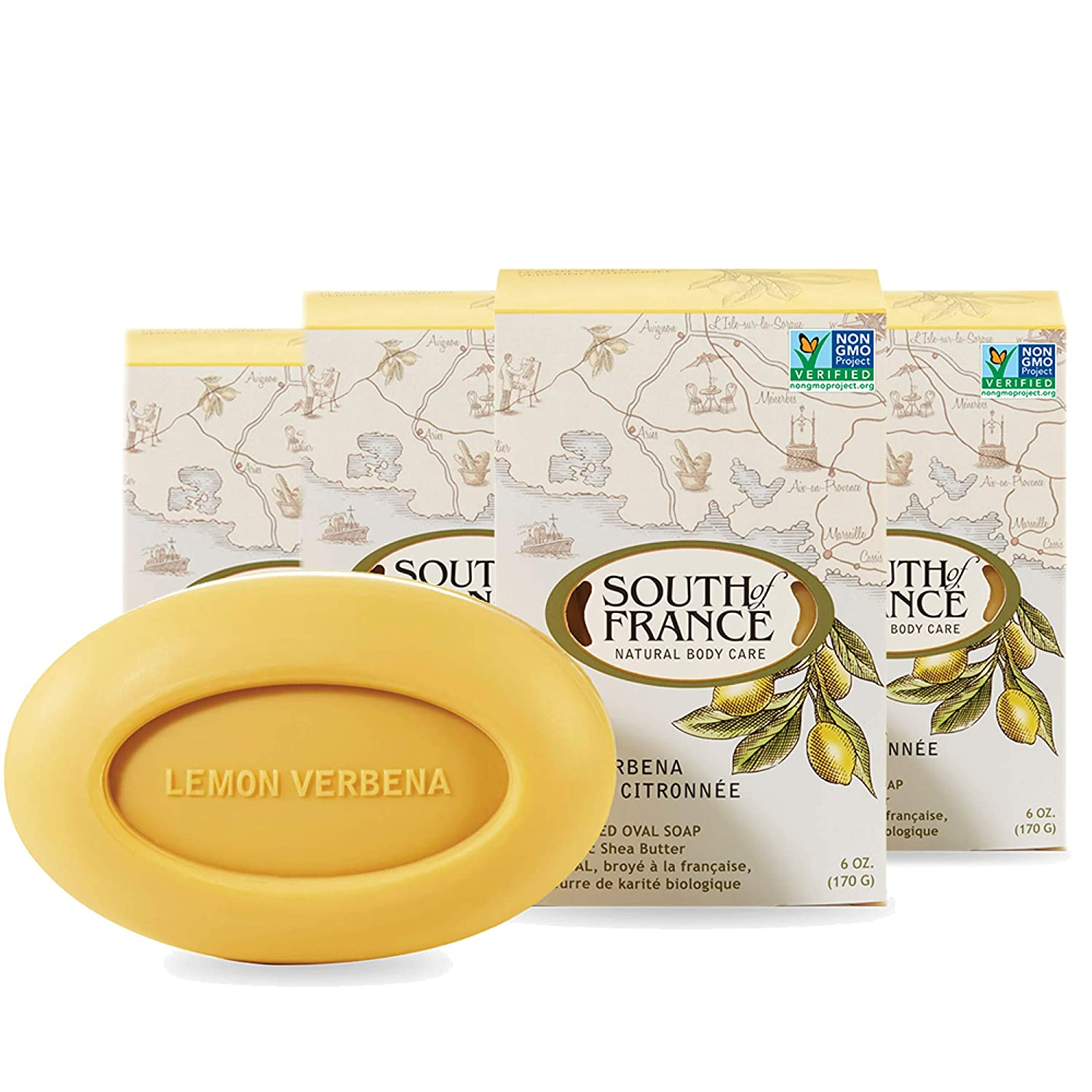 Lemon Verbena Natural Bar Soap by South of France Natural Body Care | Triple-Milled French Soap with Organic Shea Butter + Essential Oils | Vegan, Non-GMO Body Soap | 6 oz Bar – 4 Pack