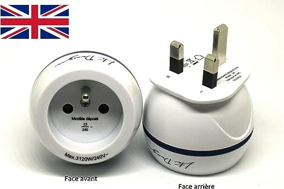LTE Design - Adaptador de viaje para enchufe de toma de corriente británica (Tipo G) a toma europea: Amazon.es: Electrónica