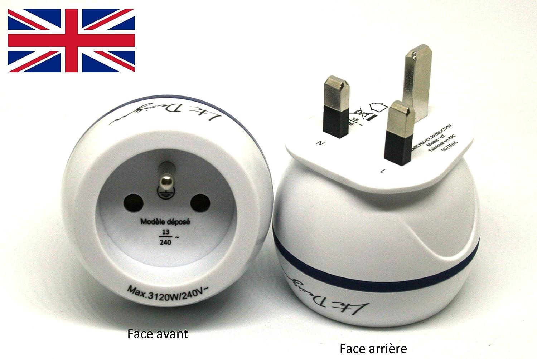 Adaptateur De Voyage France Vers Grande Bretagne GB / Angleterre / UK - Gamme Bulle- BB0165 - LTE Design - Leach Travel Europe FR165UK