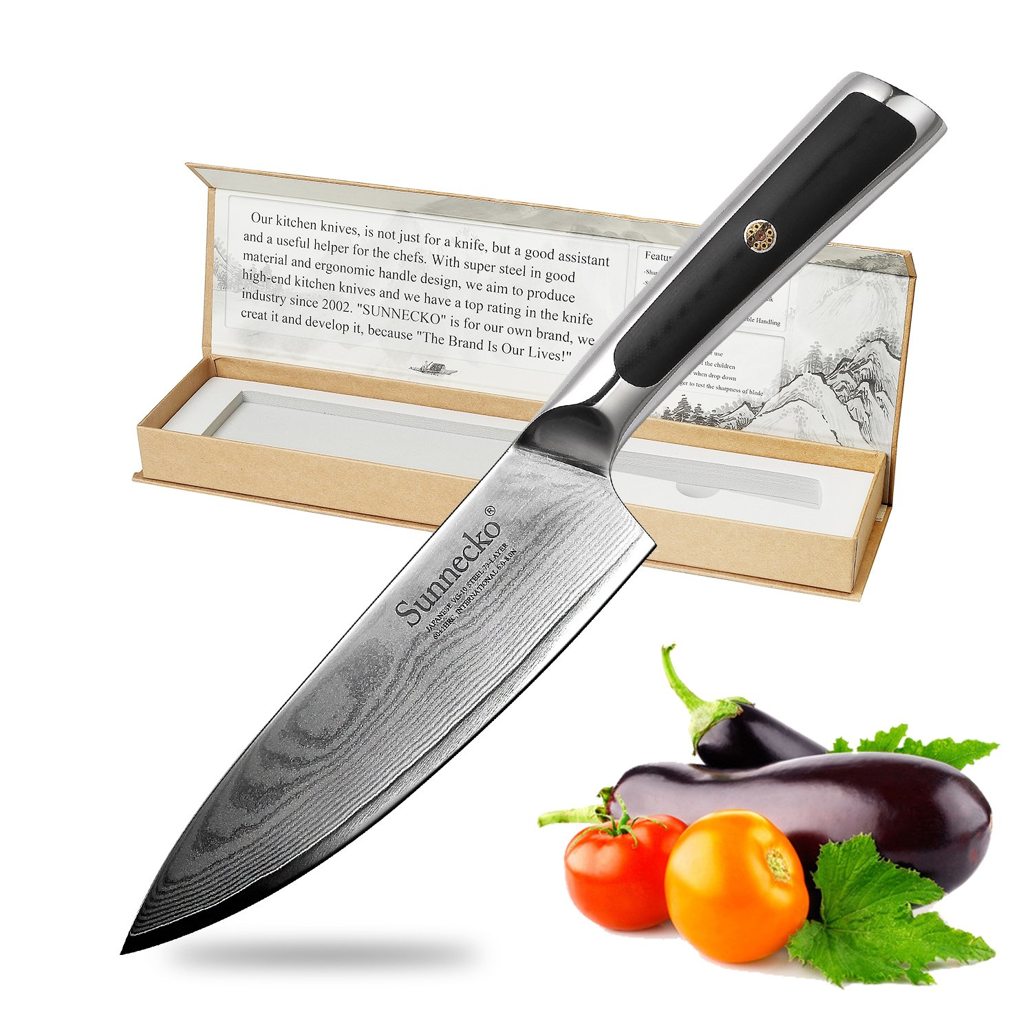Chef Knife-6.5inch High Carbon Stainless Steel Kitchen Knife with Unique Ergonomic Handle,Quality Warranty,Razor Sharp,Best Kitchen Gift for Cooking Lovers and Chefs by SUNNECKO