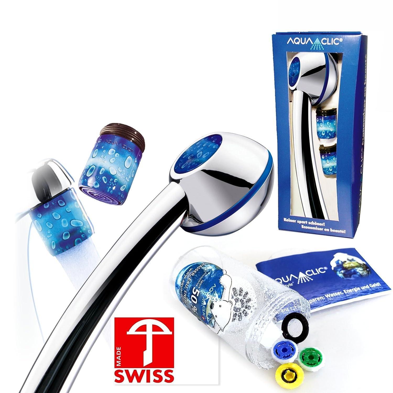 Duschkopf-Set TÄ TZLI mit: Handbrause, 3 Regler, Softspray-Aufsatz, 2 Strahlreglern fü r Wasserhä hne: mehr Druck, z.B. fü r Durchlauferhitzer, verkalkungsfrei/verkalkungsarm, Energie- +wassersparend Aqua Art AG