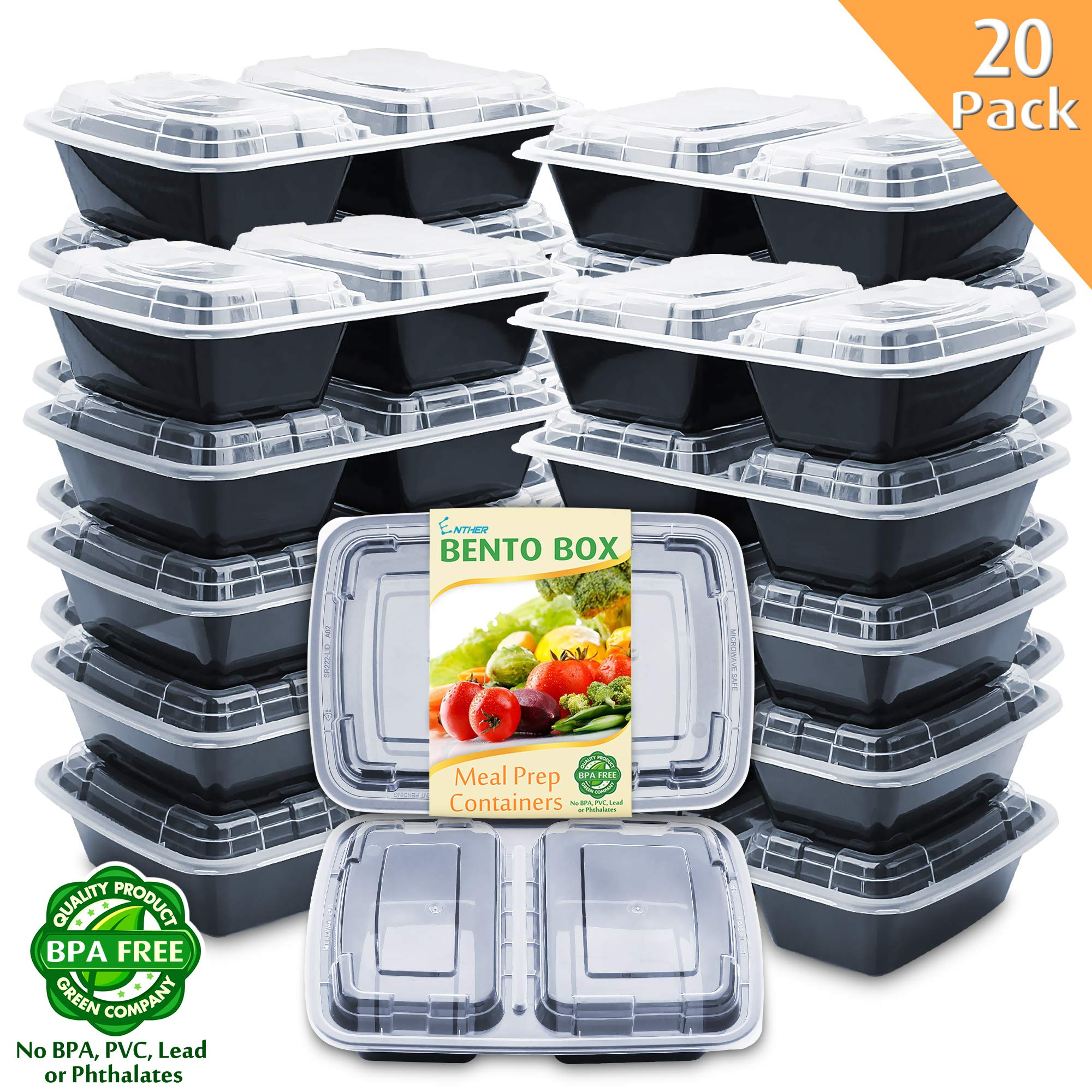 Enther Meal Prep Containers [20 Pack] 2 Compartment with Lids, Food Storage Bento Box | BPA Free | Stackable | Reusable Lunch Boxes, Microwave/Dishwasher/Freezer Safe, Portion Control (32 oz) by Enther