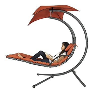 Best Choice Products Outdoor Hanging Curved Chaise Lounge Chair Swing for Backyard, Patio w/Built-in Pillow, Removable Canopy, Stand - Orange