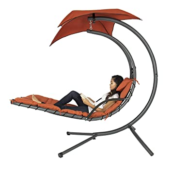 Superior Best Choice Products Hanging Chaise Lounger Chair Arc Stand Air Porch Swing  Hammock Chair Canopy Red