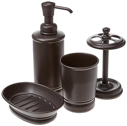 mdesign bathroom tumbler toothbrush holder soap dish and soap dispenser pump set of - Bathroom Tumbler