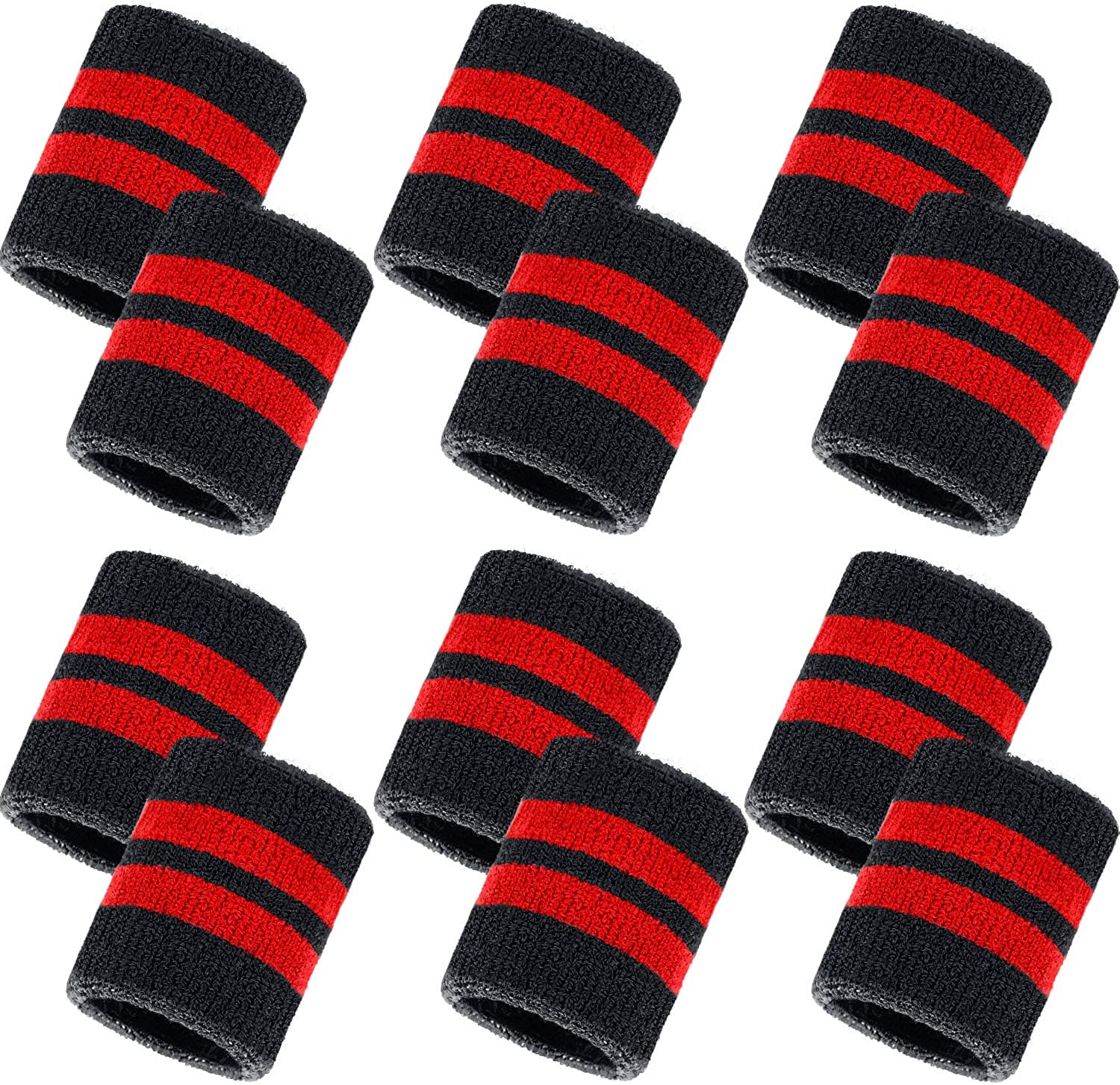 Amazon.com : Bememo 12 Pack Striped Sweatbands Wrist Sports Wristband  Cotton Wrist Band Sweat Band for Men and Women, Good for Tennis,  Basketball, Running, Gym, Working Out : Clothing