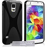 Yousave Accessories X-Linea Custodia Cover per Samsung Galaxy S5, Silicone Gel, Nero