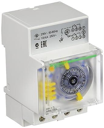 Schneider Electric 15366 Acti9 IH Conmutador Horario Analógico 24 Horas, 7 Días, Memoria 150H