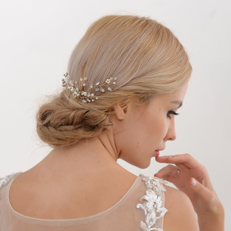 ULAPAN Wedding Hairpiece Wedding Hair Comb Crystal Bridal Hairpiece Headband Wedding Headwear with Comb HP22
