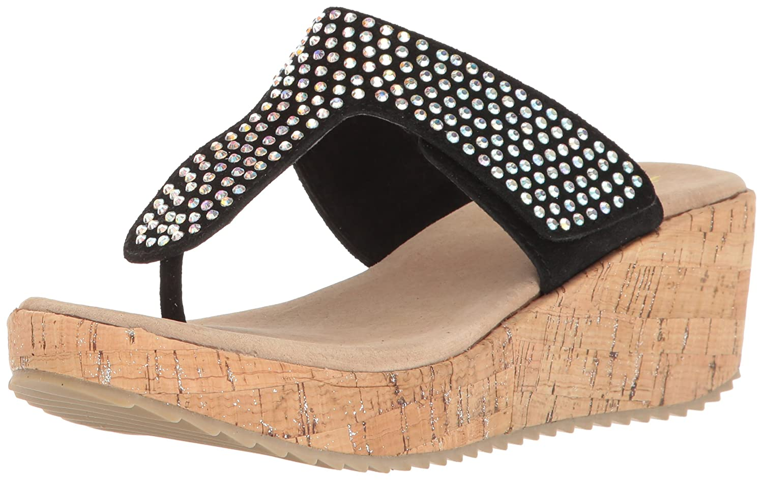 Volatile Womens Campus Wedge Sandal Black Size 70