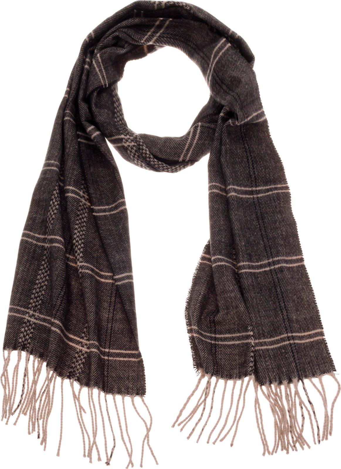 SilverHooks Soft & Warm Plaid Cashmere Scarf w/Gift Box (Cream & Black Stripe)