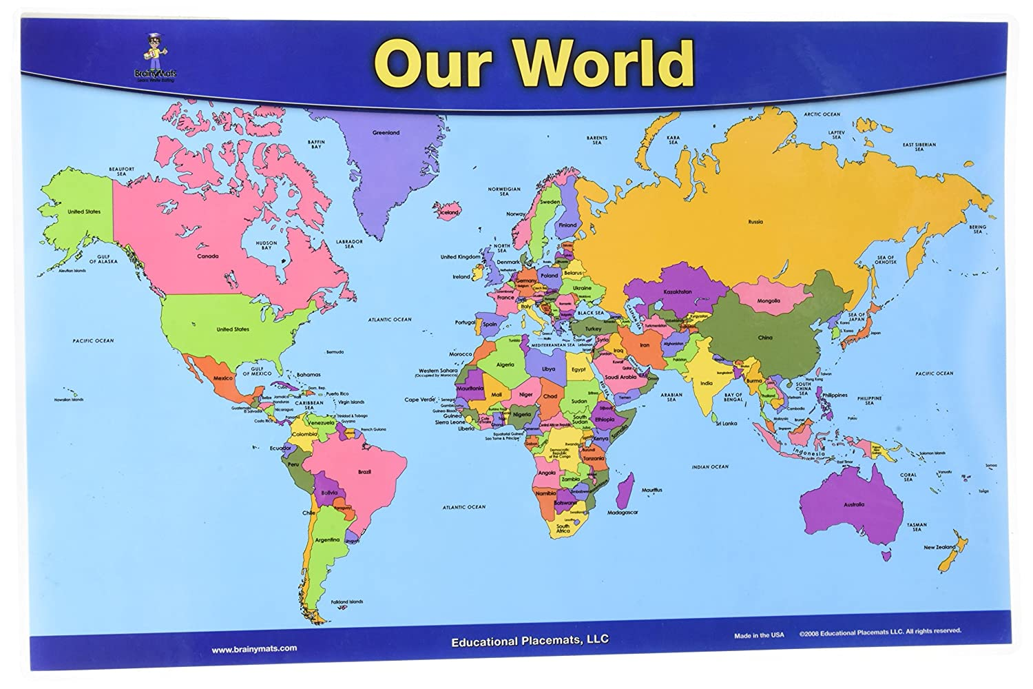 Amazon brainymats world map placemat revised 2012 home kitchen gumiabroncs Choice Image