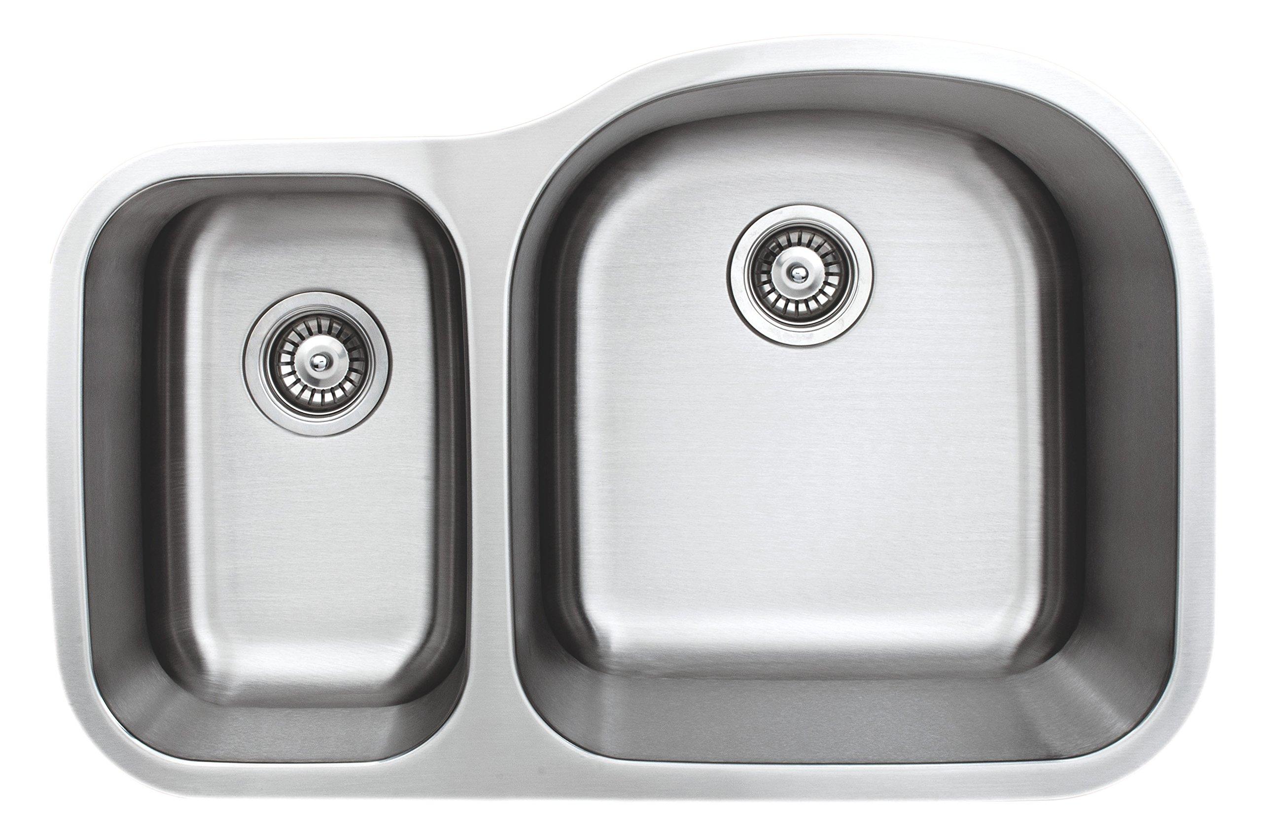 Wells Sinkware CMU3221-79D-16 Craftsmen Series Stainless Steel Kitchen Sink 32'' 40/60 D-shape Brushed Matte Finish