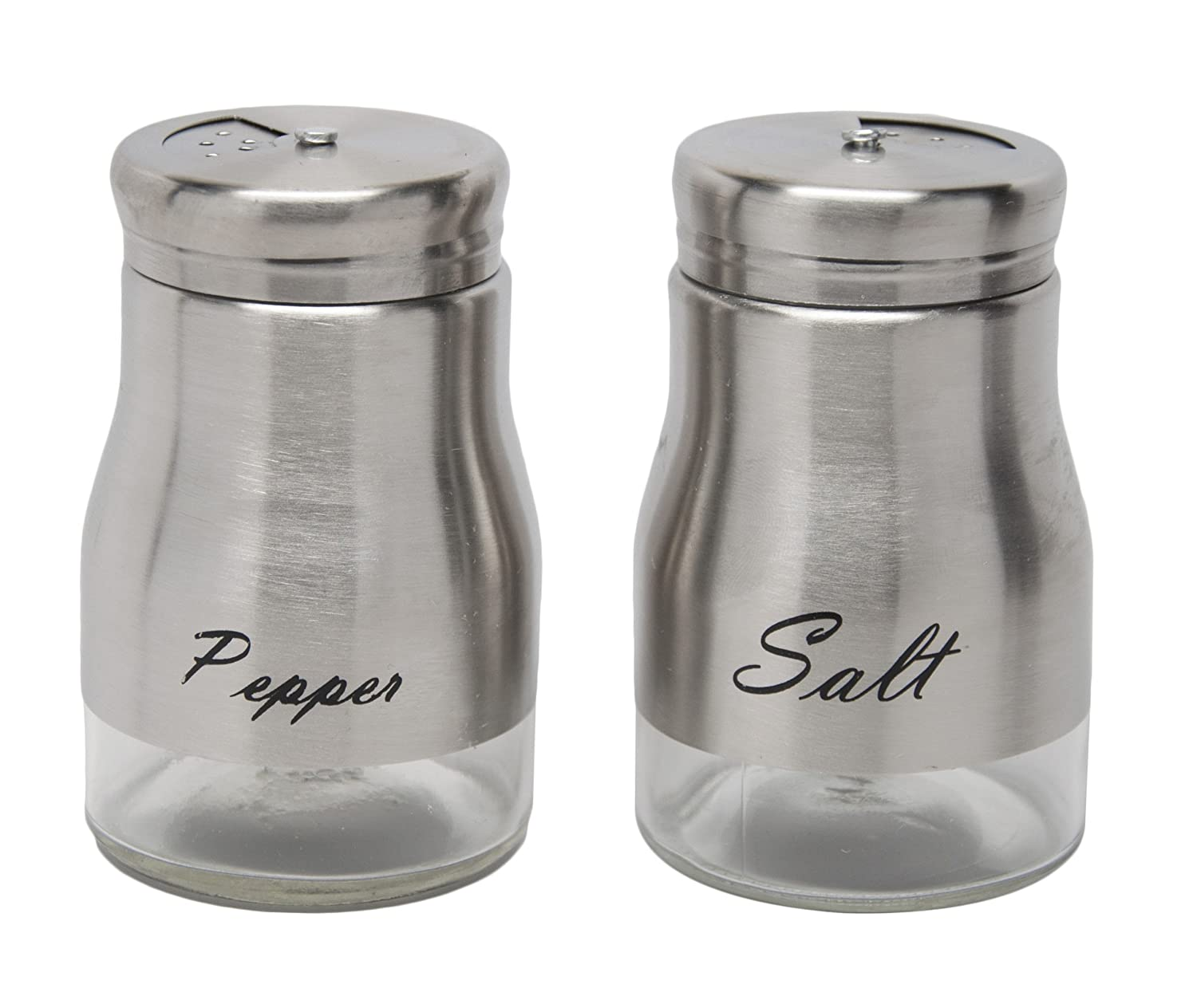Stainless Steel Round Salt and Pepper Shakers With Stand Seasoning Shakers Set Spice Shaker Set Xena