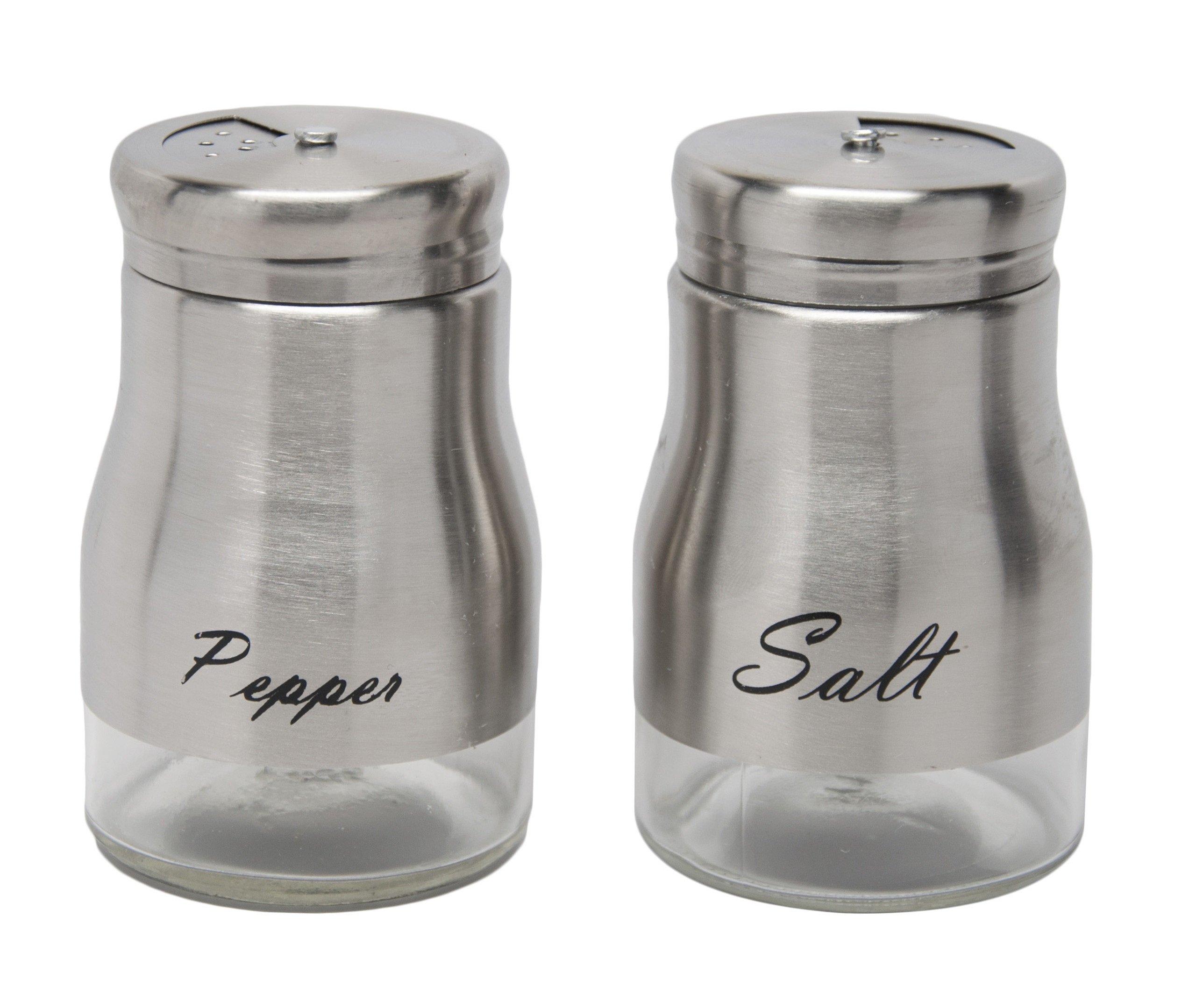 Elegant Glass Salt and Pepper Shaker Set with Stainless Steel Seasoning Shaker Salt Shaker by Xena (Image #3)