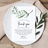 Bliss Collections Wedding Reception Thank You Cards - Pack of 50 Greenery Cards - Great Addition to Your Table…