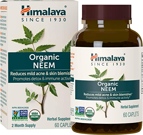 Himalaya Organic Neem, Equivalent to 5,383mg of Neem Powder, for Mild Acne Skin Care, 60 Caplets, 2 Month Supply