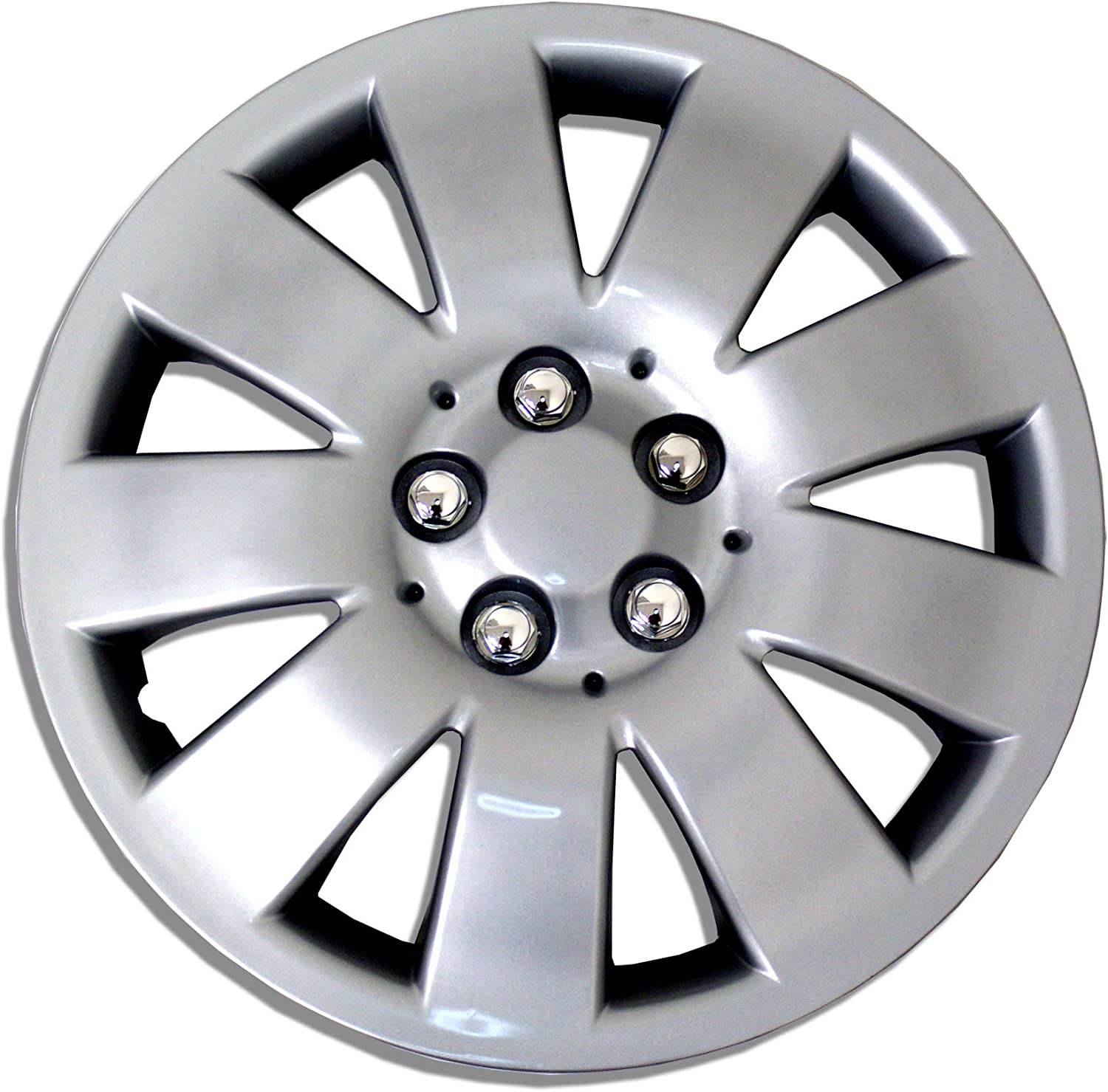 Tuningpros WC1P-15-721-S - Pack of 1 Hubcap (1 Piece) - 15-Inches Style Snap-On (Pop-On) Type Metallic Silver Wheel Covers Hub-caps