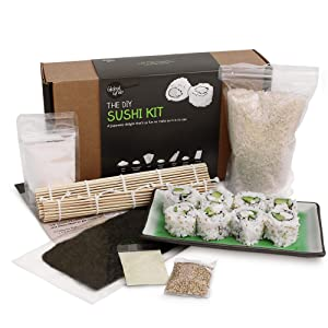Global Grub DIY Sushi Making Kit - Sushi Kit Includes Sushi Rice, Nori Sushi Seaweed, Rice Vinegar Powder, Sesame Seeds, Wasabi Powder, Bamboo Sushi Rolling Mat, Instructions, Makes 48 Pieces