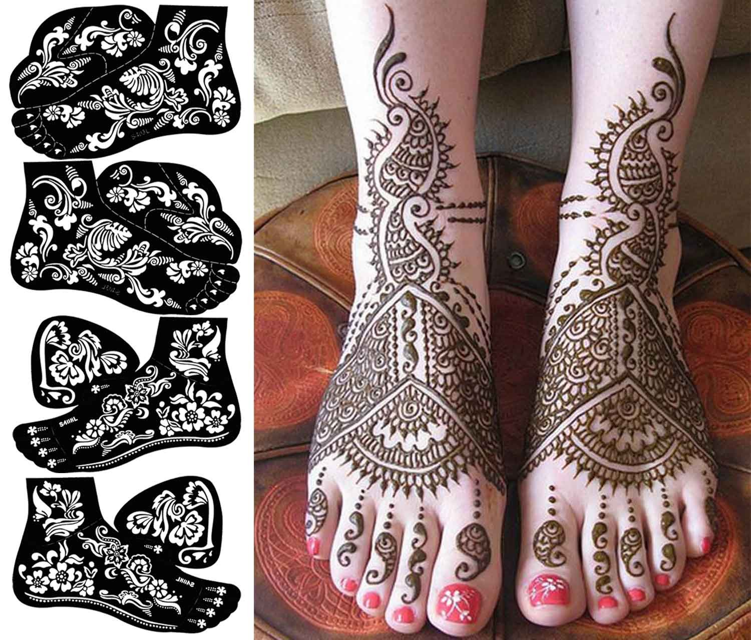 COKOHAPPY 4 Sheets Foot Indian Painting Tattoo Stencil Self-Adhesive Body Art Designs for Foots - Temporary Indian Arabian Tattoo Reusable Stickers
