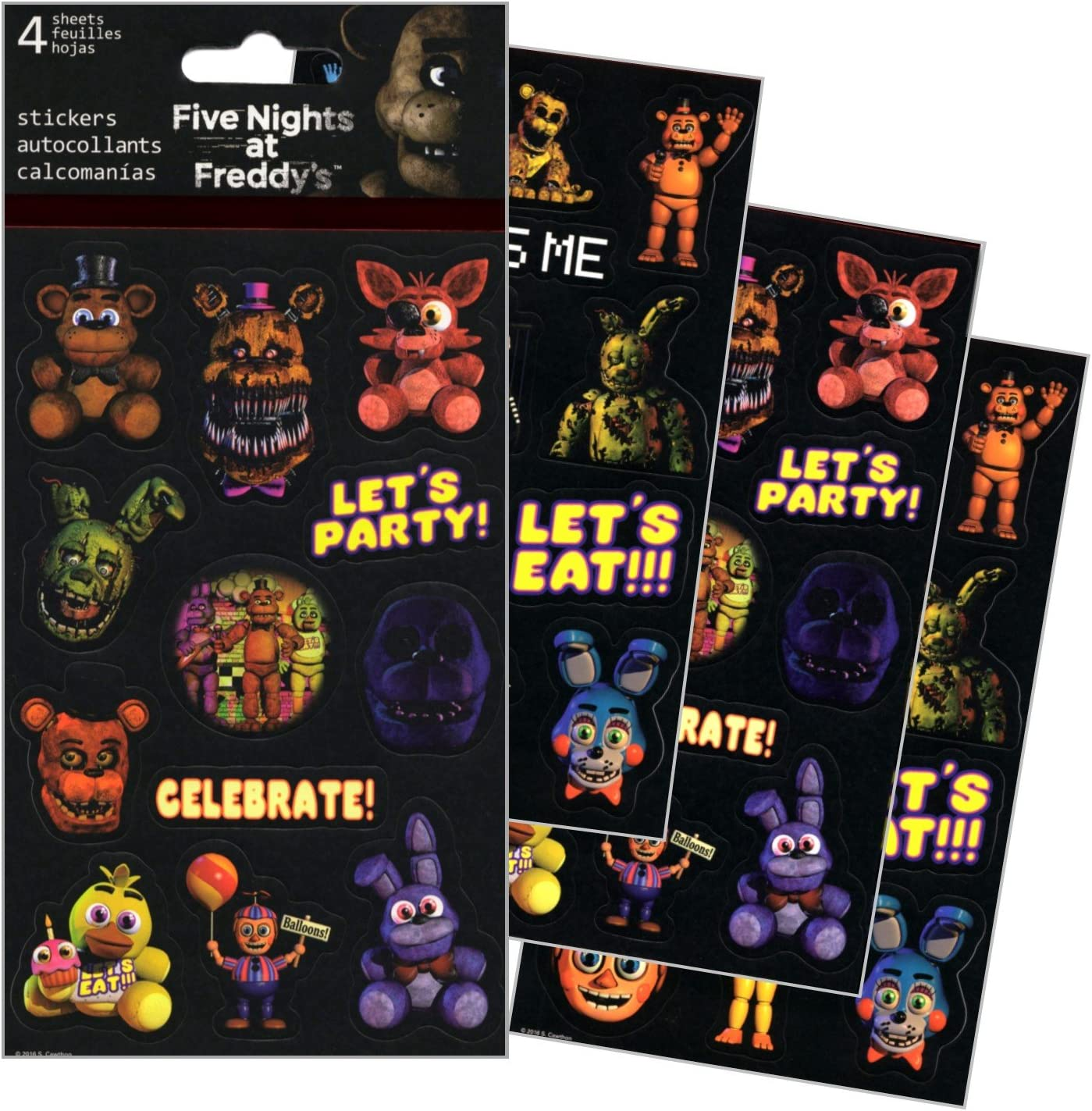 Five Nights at Freddys Stickers, 4 Sheets: Amazon.es: Juguetes y juegos