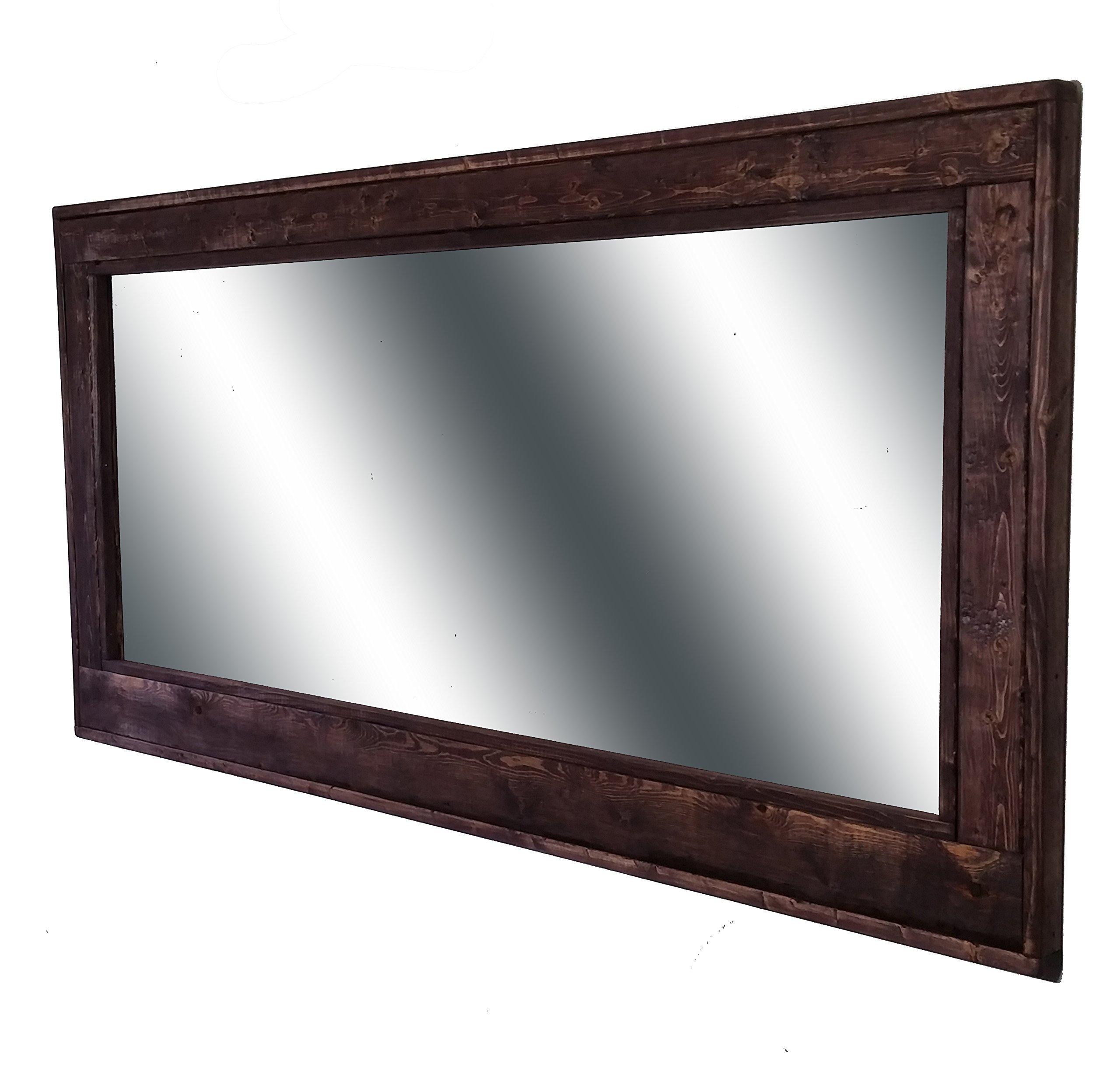 60 x 30 Herringbone Double Vanity Mirror Red Mahogany Stain Reclaimed Wood Framed Mirror - Large Wall Mirror - Rustic Modern Home - Home Decor - Mirror - Wood work by Renewed Decor