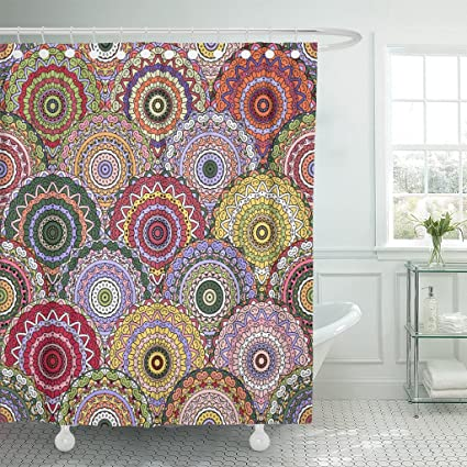 TOMPOP Shower Curtain Boho Chic Flower Elegant Floral For Furniture Curtains Mandala Design Unusual Flourish Blue