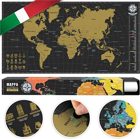 benehacks Mapa del Mundo en Italiano Tipo póster para rascar SIGA ...