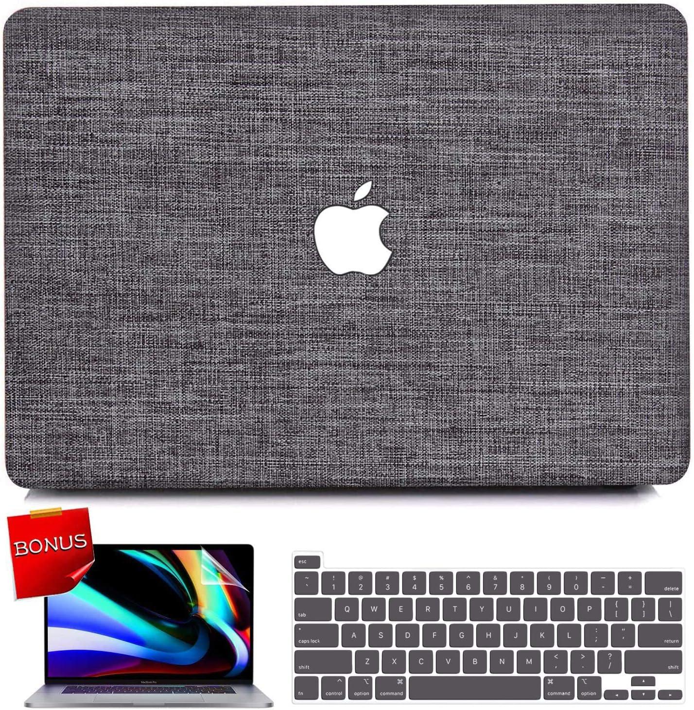 iPAPA MacBook Pro 13 inch Case 2020 2019 2018 2017 2016 Release A2338 M1 A2251 A2289 A2159 A1708 A1706 A1989, Fabric Hard Shell Cover + Keyboard Cover + Screen Skin, MacBook Pro 2020 M1 Case Touch Bar
