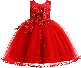 Weileenice Baby Girls' Vintage Print Floral Summer Dresses Spaghetti Straps Princess Beach Girl Party Dress 1-12T