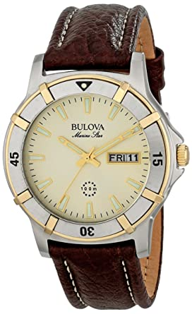 5873bc8a8052 Image Unavailable. Image not available for. Color  Bulova Men s 98C71  Marine Star Two-Tone Stainless Steel Watch with ...