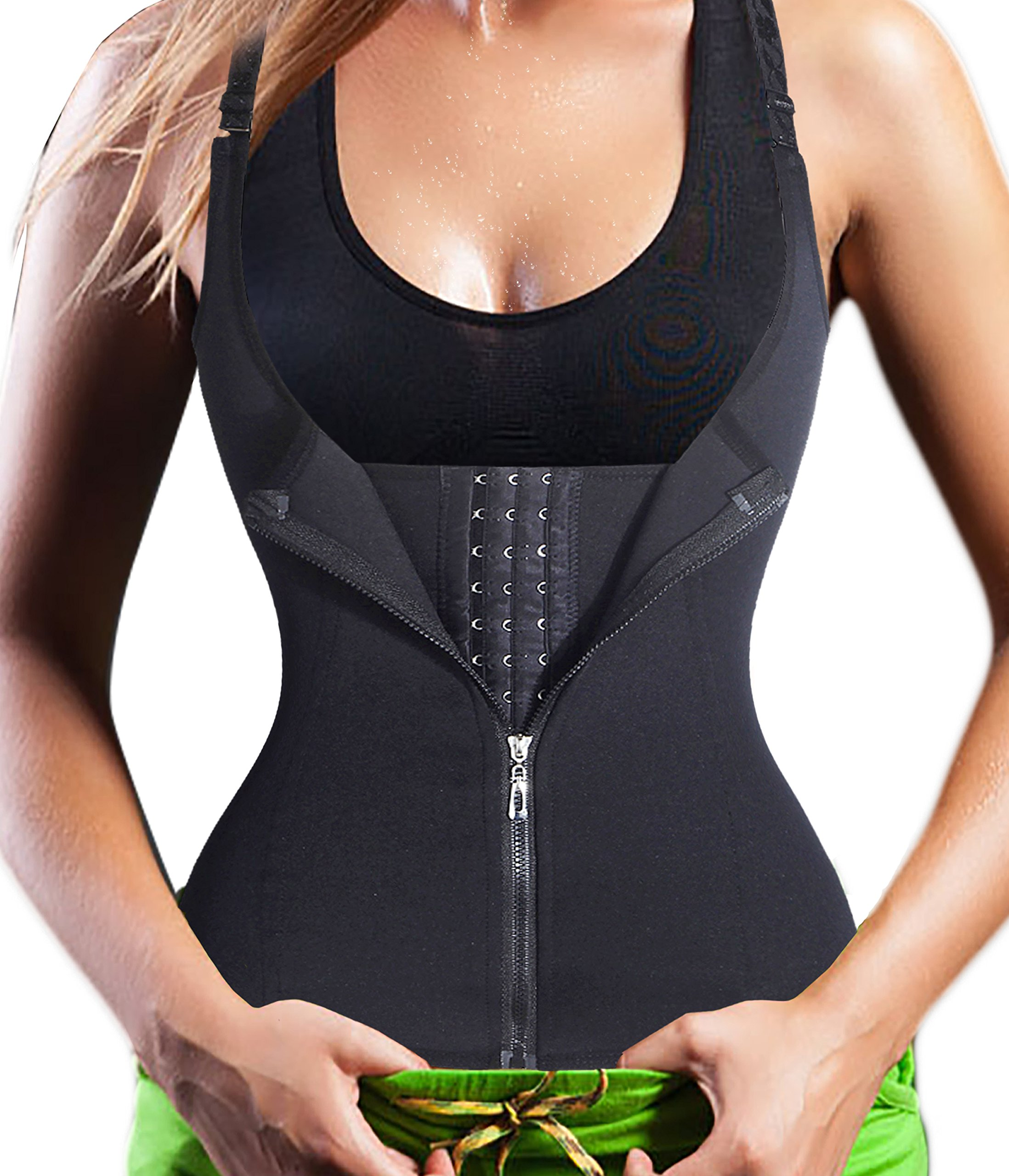 Smooth the Abdomen,Gotoly Adjustable Straps Body Shaper Waist Cincher Tank Top (XX-Large, Black)