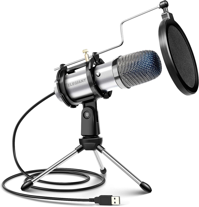 ELEGIANT Micrófono PC USB, Micrófono de Condensador PS4 con Trípode para Grabación de Estudio, Audio Chat en Línea para Facebook TIK Tok Skype Youtube, Ordenador Portátil, Tableta, Móvil, Mac, Plata